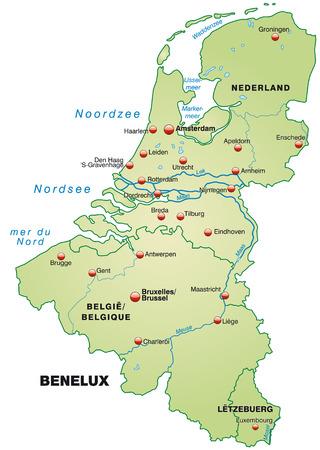 Kaart van de Benelux als een overzichtskaart in pastel groen
