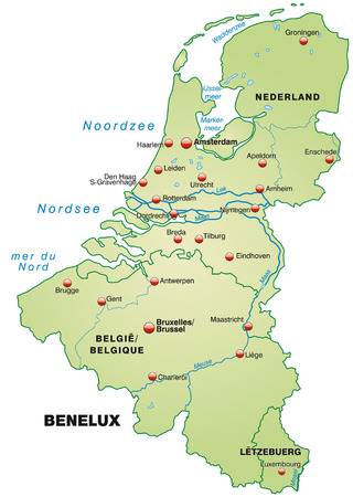 Map of Benelux as an overview map in pastel green