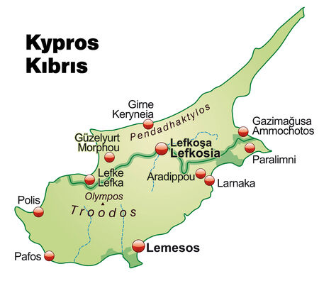 kypros: Map of Cyprus as an overview map in pastel green Illustration