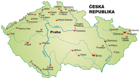 Map of Czech Republic as an overview map in pastel green
