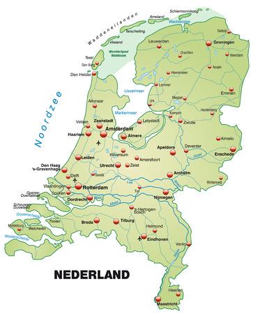 Kaart van Nederland als een overzichtskaart in pastel groen Stock Illustratie
