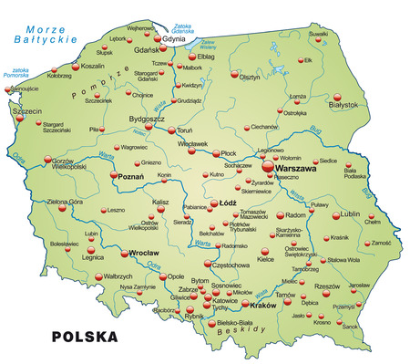 Map of Poland as an overview map in pastel green Vector