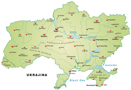 overview: Map of Ukraine as an overview map in pastel green