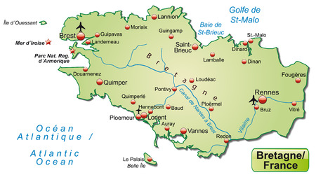 brittany: Map of Brittany as an overview map in pastel green