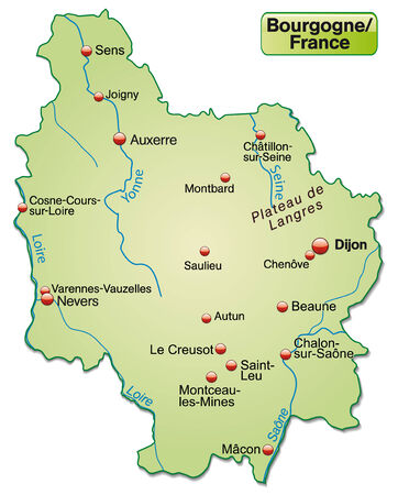 Map of Burgundy as an overview map in pastel green Vector
