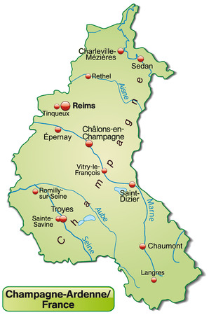 reims: Map of Champagne-Ardenne as an overview map in pastel green Illustration