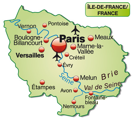 versailles   france: Map of Ile-de-France as an overview map in pastel green Illustration