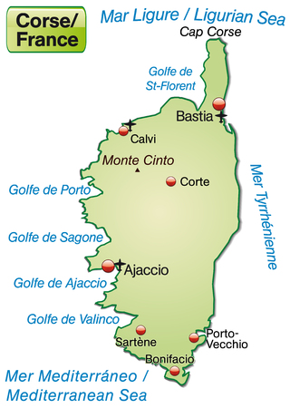 ajaccio: Map of corsica as an overview map in pastel green Illustration