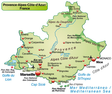 azur: Map of Provence-Alpes-Cote d Azur as an overview map in pastel green Illustration