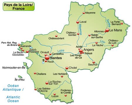 le roche: Map of Pays de la Loire as an overview map in pastel green