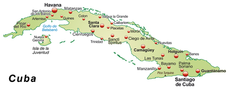 guantanamo: Map of Cuba as an overview map in pastel green Illustration