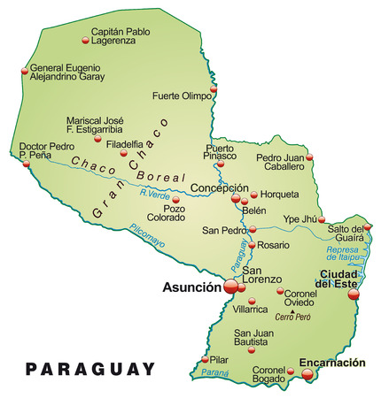 Map of Paraguay as an overview map in pastel green Ilustração