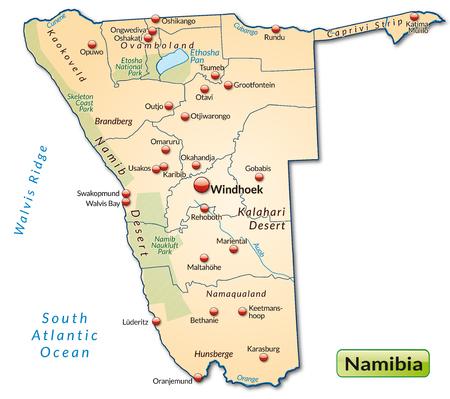 kalahari desert: Map of Namibia as an overview map in pastel orange