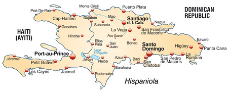 dominican: Map of hispaniola as an overview map in pastel orange