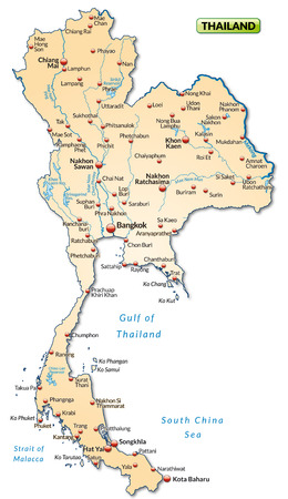 Map of Thailand as an overview map in pastel orange Stock Vector - 25040458