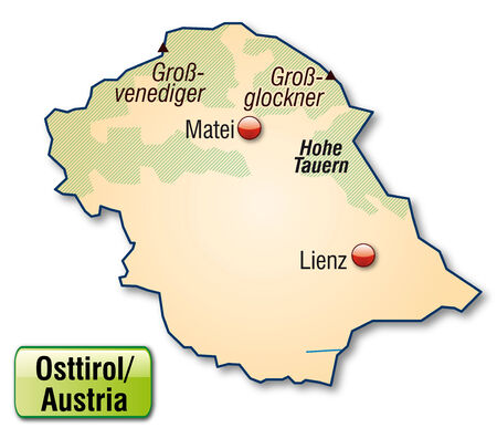 Map of East Tyrol as an overview map in pastel orange Vector