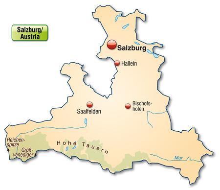 saalfelden: Map of salzburg as an overview map in pastel orange Illustration