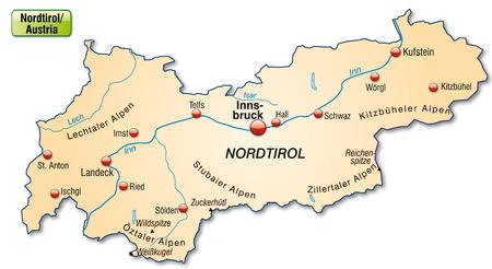 チロル: Map of tyrol as an overview map in pastel orange