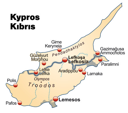 kibris: Map of Cyprus as an overview map in pastel orange Illustration