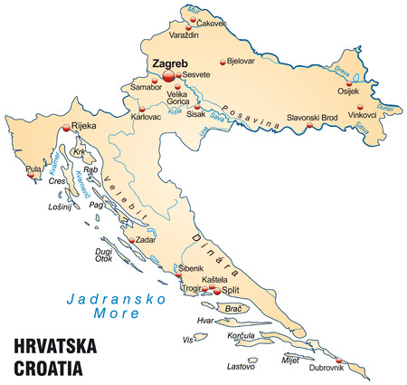 Map of Croatia as an overview map in pastel orange Illustration