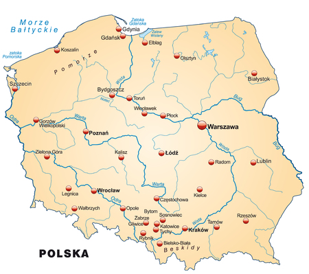 wroclaw: Map of Poland as an overview map in pastel orange