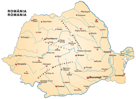 Map of Romania as an overview map in pastel orange Illustration