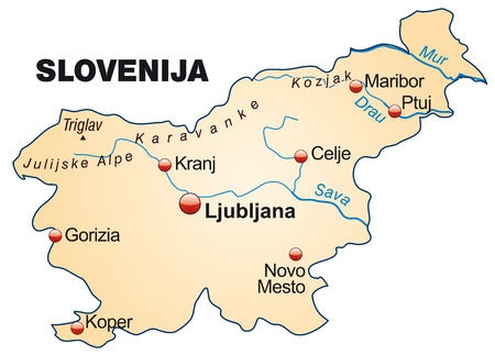 Map of Slovenia as an overview map in pastel orange Ilustrace