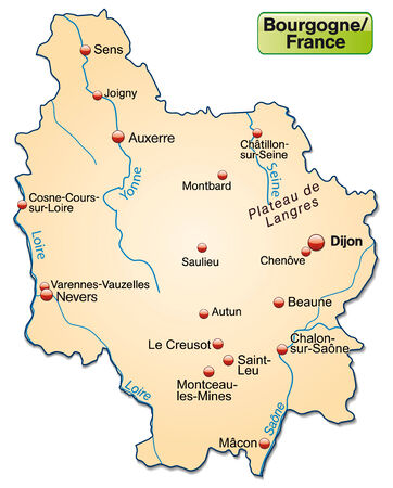 sur: Map of Burgundy as an overview map in pastel orange