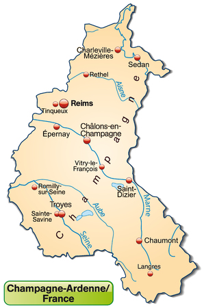 reims: Map of Champagne-Ardenne as an overview map in pastel orange Illustration