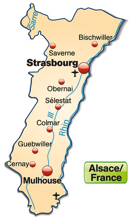 strasbourg: Map of Alsace as an overview map in pastel orange Illustration