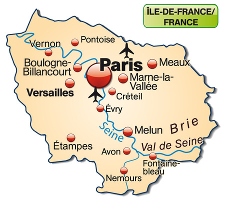 versailles   france: Map of Ile-de-France as an overview map in pastel orange