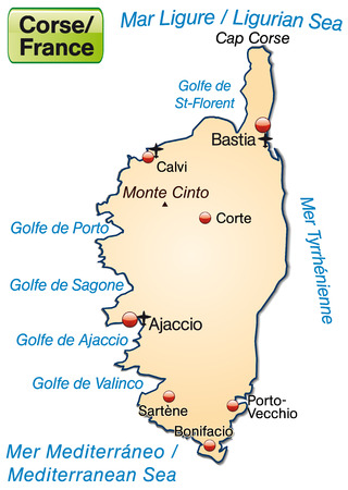 Map of corsica as an overview map in pastel orange Vector