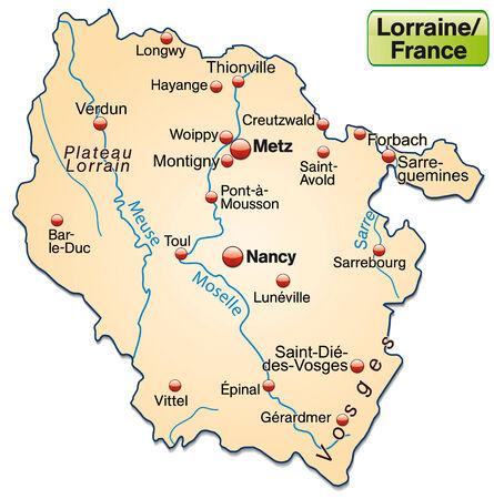 Map of lorraine as an overview map in pastel orange