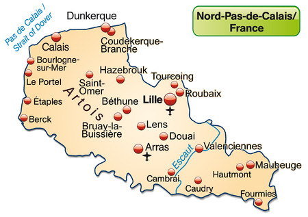lille: Map of North-pas-de-calais as an overview map in pastel orange Illustration