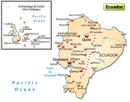 loja: Map of ecuador as an overview map in pastel orange