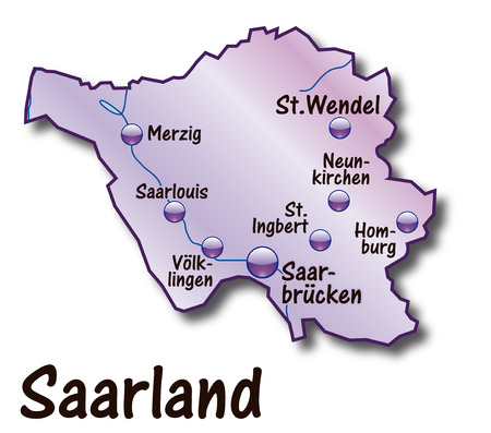 saarlouis: Map of Saarland as an overview map in violet
