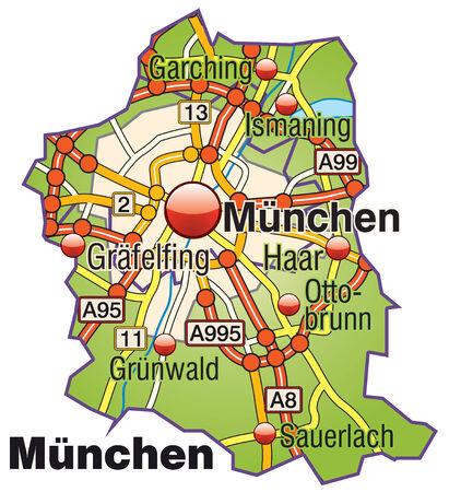 m�nchen: Kaart van München met snelwegen Stock Illustratie