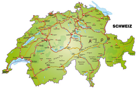 Map of Switzerland with highways   Vector