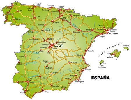 Map of Spain with highways   Vector