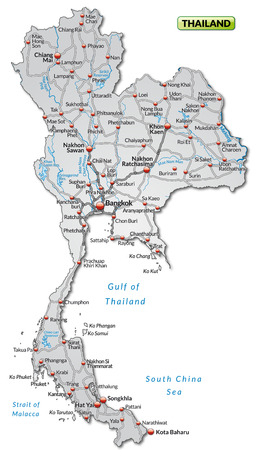 Map of Thailand with highways in gray Vector