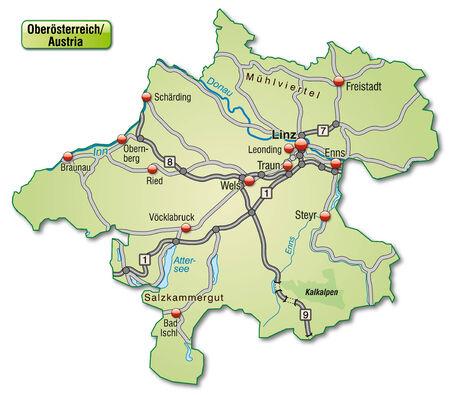 Map of Upper Austria with highways in pastel green Vector