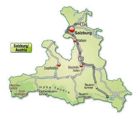 saalfelden: Map of salzburg with highways in pastel green Illustration