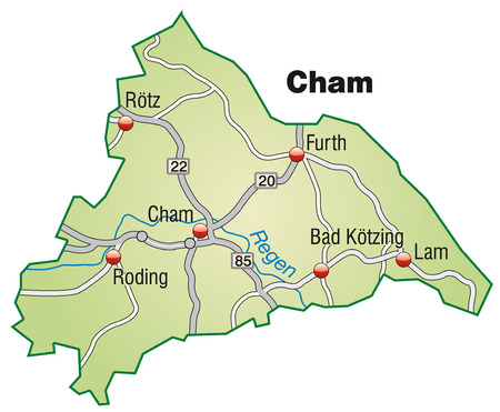 motorway: Map of cham with highways in pastel green