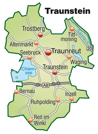 motorway: Map of traunstein with highways in pastel green