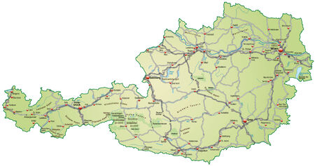 geographically: Map of Austria with highways in pastel green Illustration