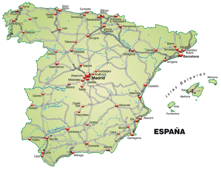 bilbao: Map of Spain with highways in pastel green Illustration