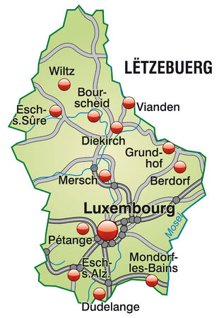 motorway: Map of Luxembourg with highways in pastel green