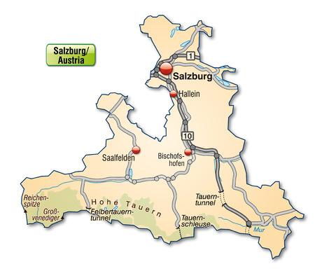 saalfelden: Map of salzburg with highways in pastel orange Illustration