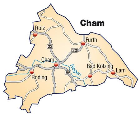 orange county: Map of cham with highways in pastel orange Illustration