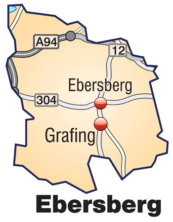 geographically: Map of ebersberg with highways in pastel orange Illustration